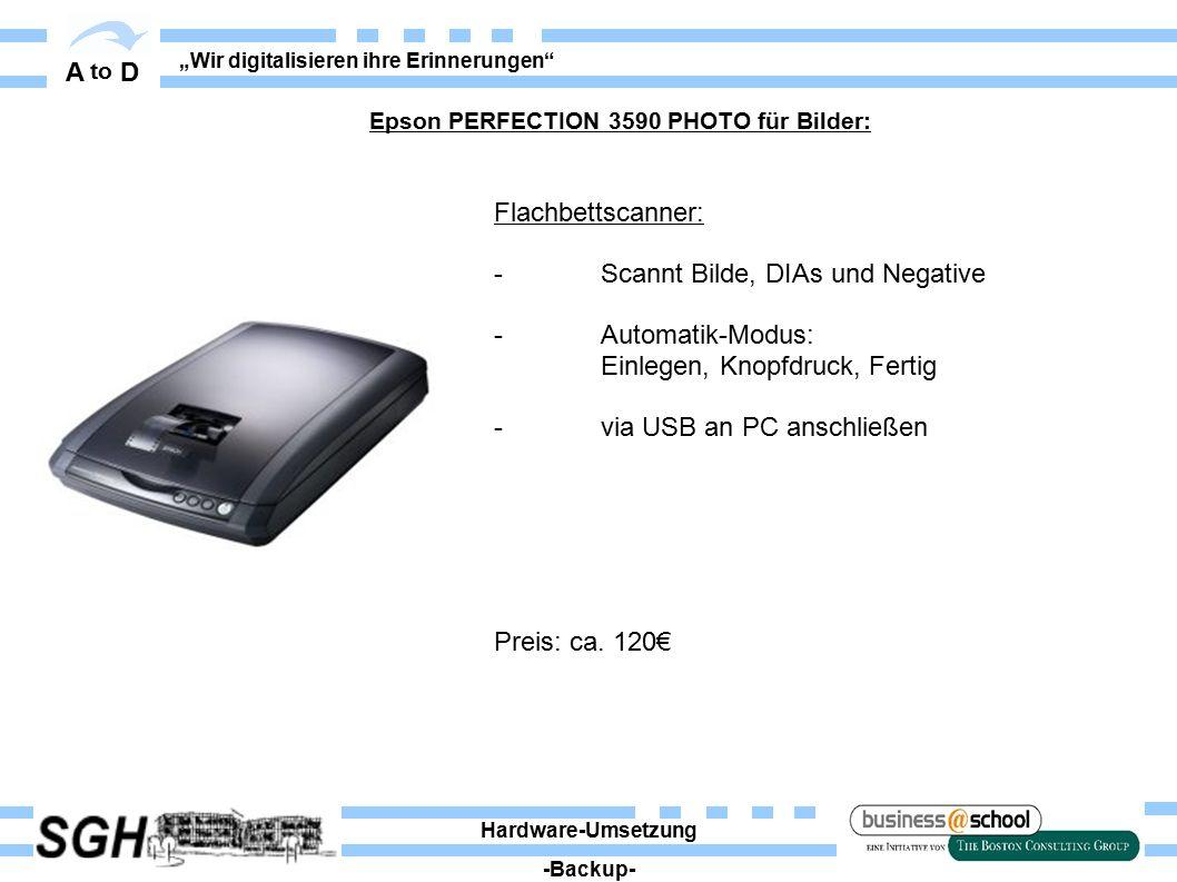 """A to D """"Wir digitalisieren ihre Erinnerungen Flachbettscanner: - Scannt Bilde, DIAs und Negative - Automatik-Modus: Einlegen, Knopfdruck, Fertig - via USB an PC anschließen Preis: ca."""
