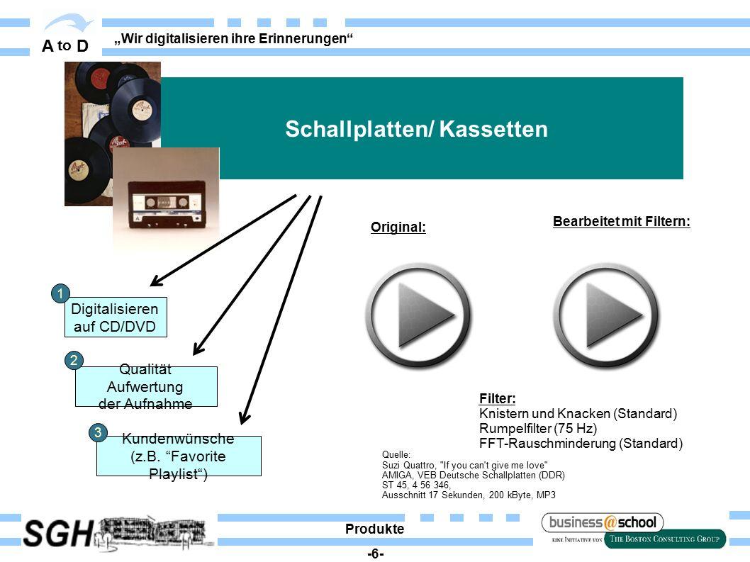 """A to D """"Wir digitalisieren ihre Erinnerungen"""" Digitalisieren auf CD/DVD Qualität Aufwertung der Aufnahme Kundenwünsche (z.B. """"Favorite Playlist"""") Sch"""