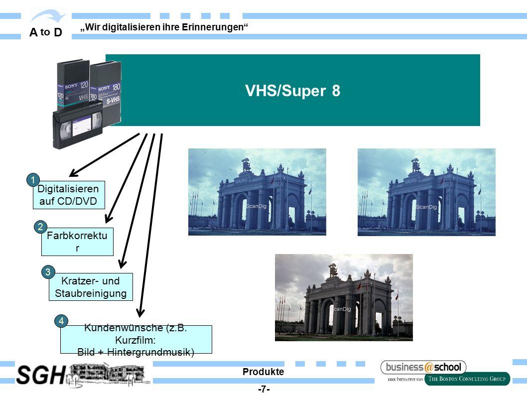 """A to D """"Wir digitalisieren ihre Erinnerungen Digitalisieren auf CD/DVD Ausdruck/ Scann auf Papier Farbkorrektu r Dokumente Produkte -8- 1 2 3"""