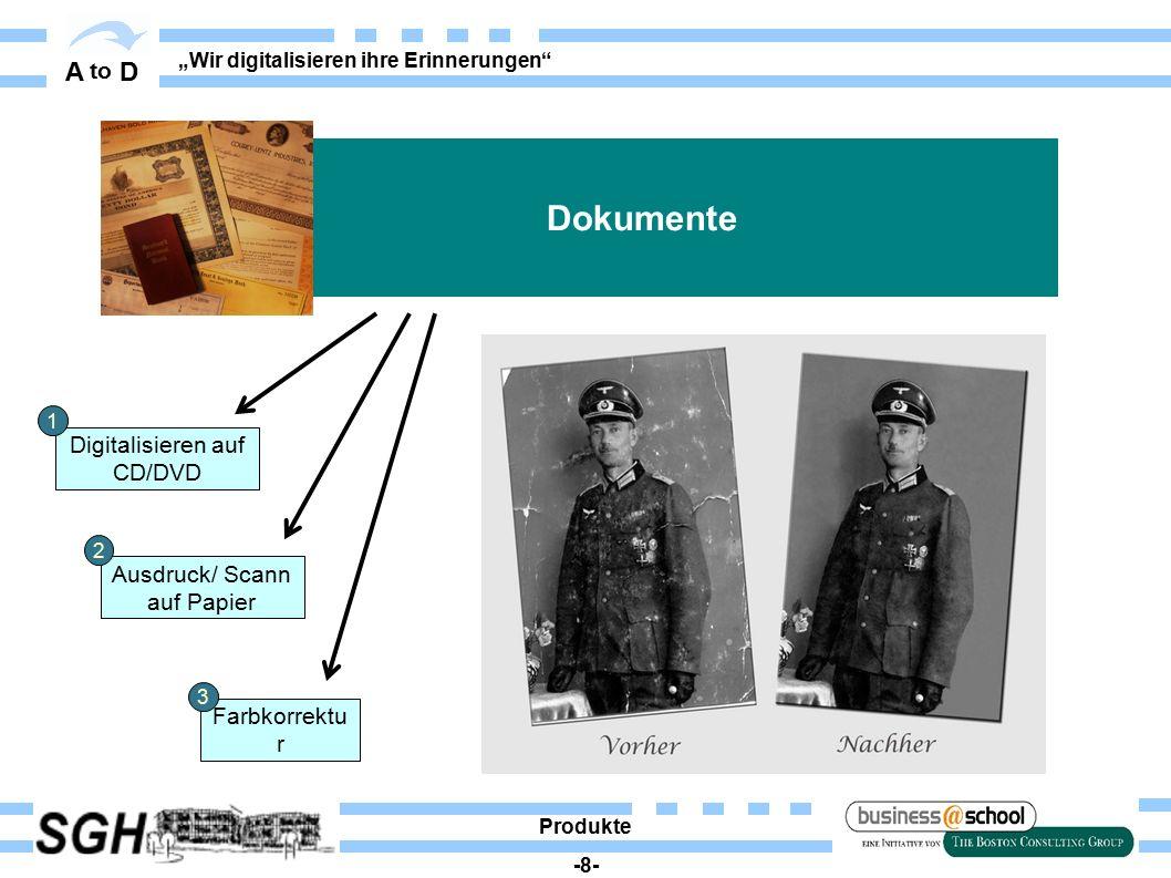 """A to D """"Wir digitalisieren ihre Erinnerungen"""" Digitalisieren auf CD/DVD Ausdruck/ Scann auf Papier Farbkorrektu r Dokumente Produkte -8- 1 2 3"""