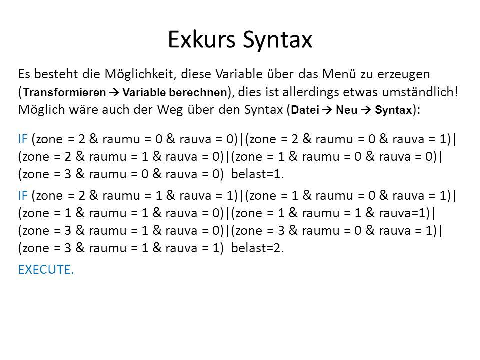 Exkurs Syntax Es besteht die Möglichkeit, diese Variable über das Menü zu erzeugen ( Transformieren  Variable berechnen ), dies ist allerdings etwas umständlich.