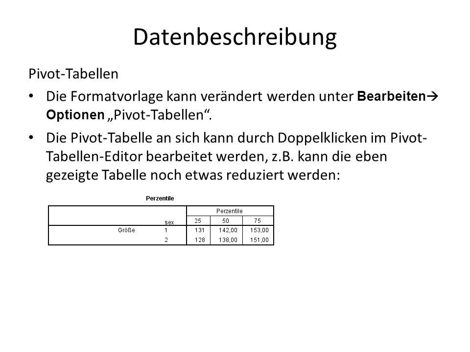 """Datenbeschreibung Pivot-Tabellen Die Formatvorlage kann verändert werden unter Bearbeiten  Optionen """"Pivot-Tabellen ."""