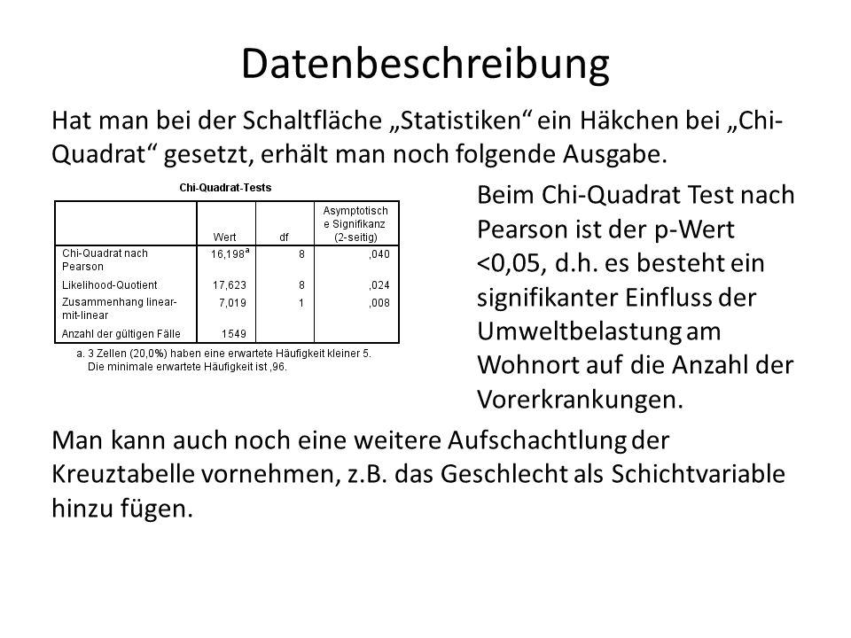 """Datenbeschreibung Hat man bei der Schaltfläche """"Statistiken ein Häkchen bei """"Chi- Quadrat gesetzt, erhält man noch folgende Ausgabe."""