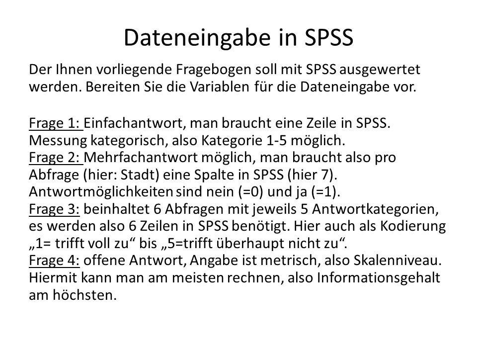 Dateneingabe in SPSS Frage 5: auch offene Antwort, aber nominal.