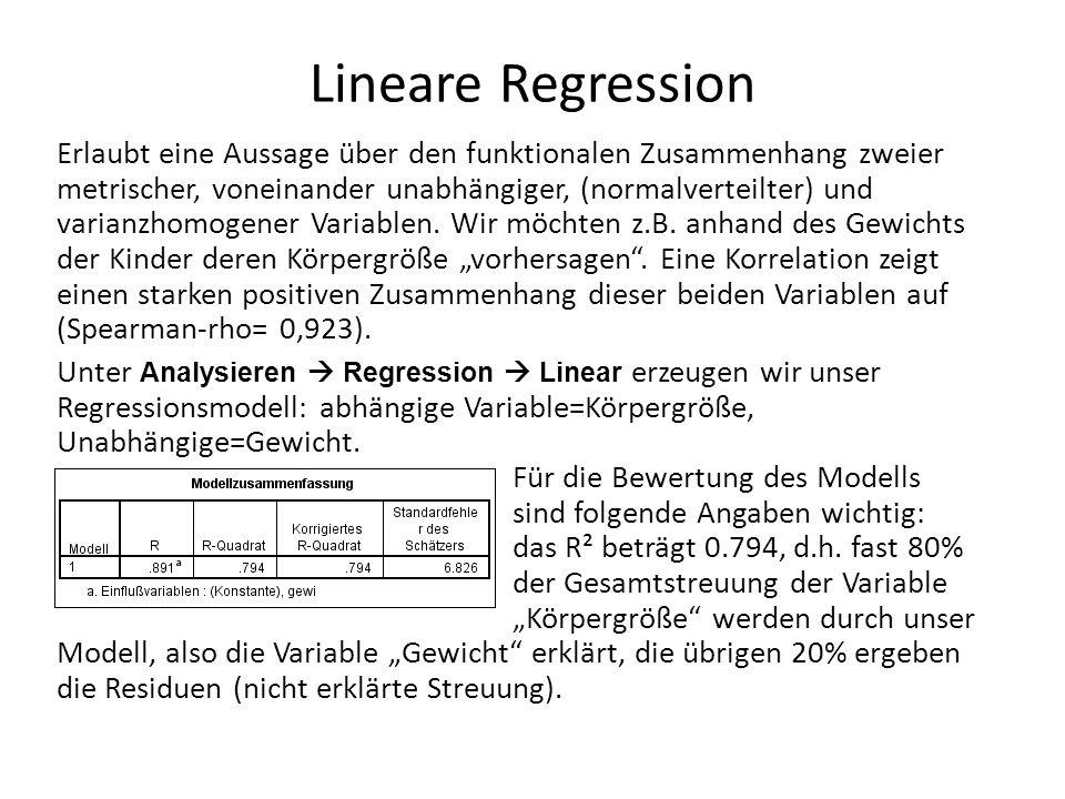 Lineare Regression Erlaubt eine Aussage über den funktionalen Zusammenhang zweier metrischer, voneinander unabhängiger, (normalverteilter) und varianzhomogener Variablen.
