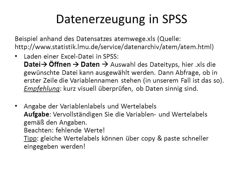 Datenerzeugung in SPSS Beispiel anhand des Datensatzes atemwege.xls (Quelle: http://www.statistik.lmu.de/service/datenarchiv/atem/atem.html) Laden einer Excel-Datei in SPSS: Datei  Öffnen  Daten  Auswahl des Dateityps, hier.xls die gewünschte Datei kann ausgewählt werden.