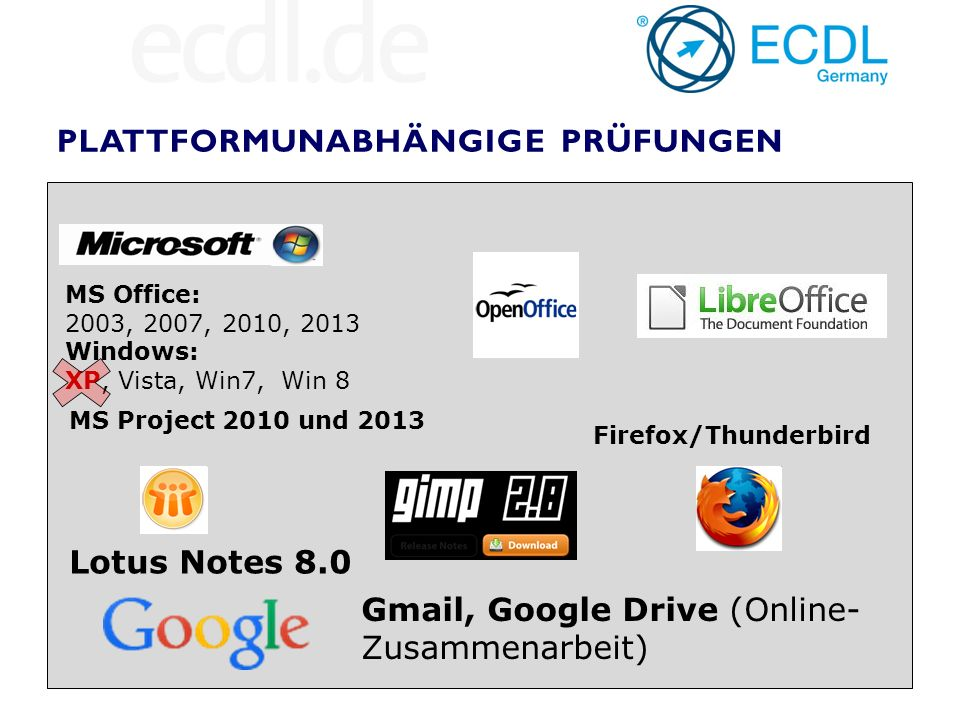 MS Office: 2003, 2007, 2010, 2013 Windows: XP, Vista, Win7, Win 8 Firefox/Thunderbird Lotus Notes 8.0 Gmail, Google Drive (Online- Zusammenarbeit) MS