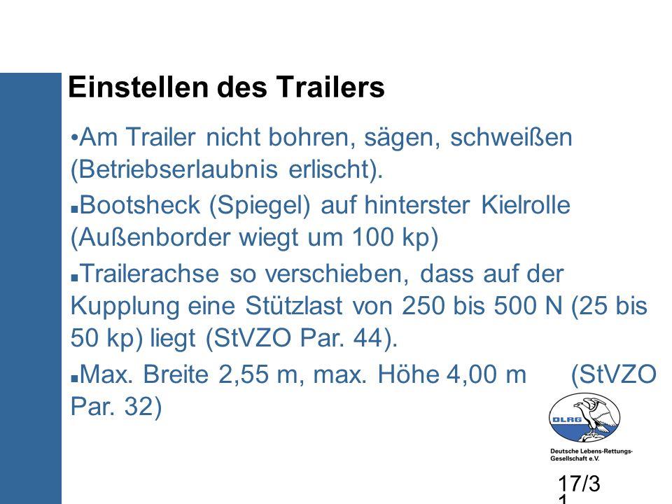 Einstellen des Trailers Am Trailer nicht bohren, sägen, schweißen (Betriebserlaubnis erlischt). Bootsheck (Spiegel) auf hinterster Kielrolle (Außenbor