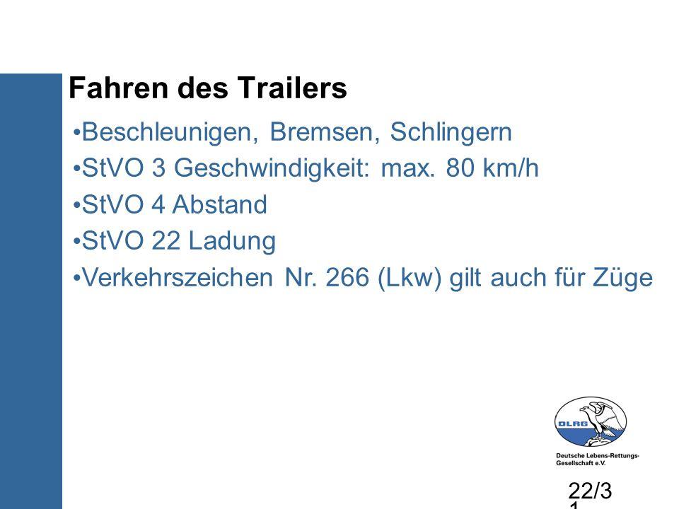Fahren des Trailers Beschleunigen, Bremsen, Schlingern StVO 3 Geschwindigkeit: max. 80 km/h StVO 4 Abstand StVO 22 Ladung Verkehrszeichen Nr. 266 (Lkw