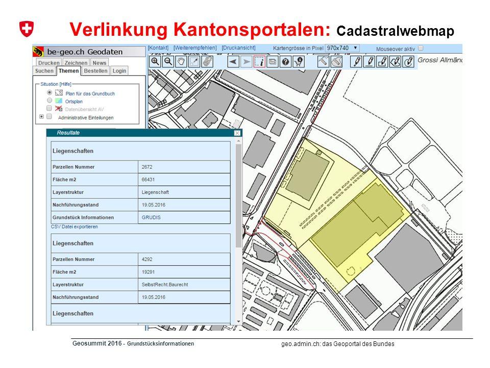 geo.admin.ch: das Geoportal des Bundes Geosummit 2016 - Grundstücksinformationen Vernetzung mit Lärmkarten