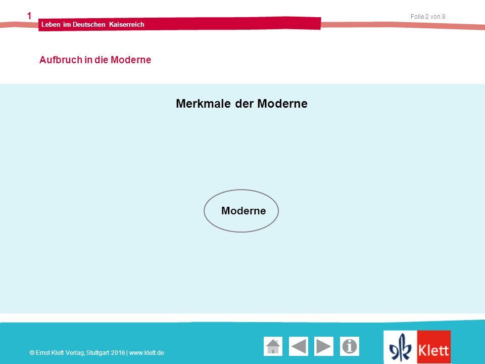 Geschichte und Geschehen Oberstufe Folie 2 von 8 Leben im Deutschen Kaiserreich 1 Aufbruch in die Moderne © Ernst Klett Verlag, Stuttgart 2016 | www.k