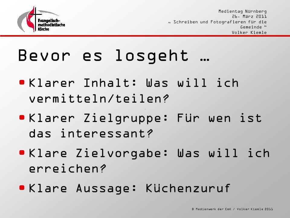 """© Medienwerk der EmK / Volker Kiemle 2011 Medientag Nürnberg 26. März 2011 """" Schreiben und Fotografieren für die Gemeinde """" Volker Kiemle Bevor es los"""