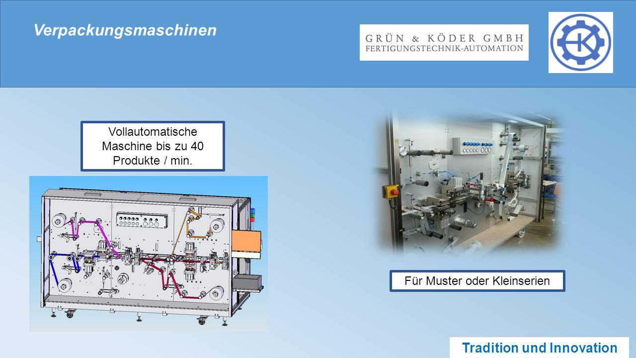 Tradition und Innovation Verpackungsmaschinen Vollautomatische Maschine bis zu 40 Produkte / min.