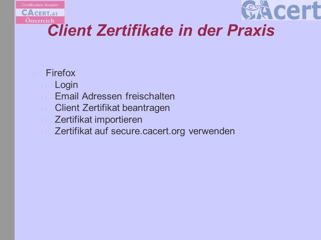 Server Zertifkat in der Praxis Apache CSR generieren Login Domain freischalten Server Zertifikat beantragen Vhosts: http://wiki.cacert.org/wiki/VhostTaskForcehttp://wiki.cacert.org/wiki/VhostTaskForce