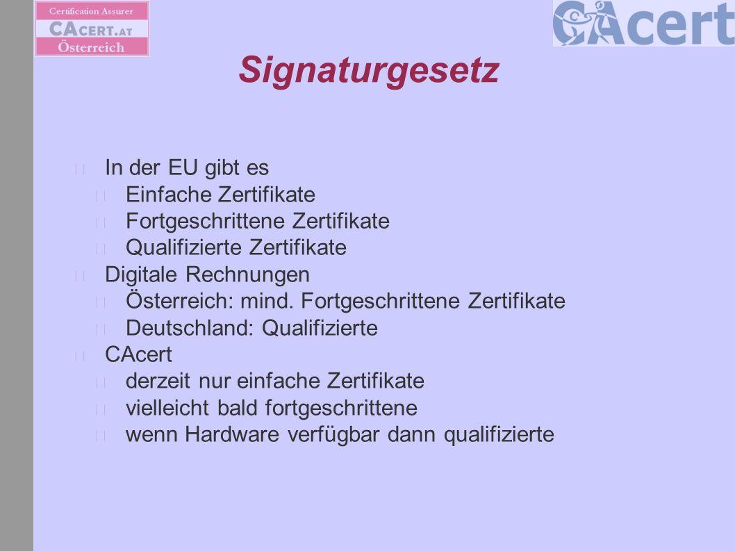 Signaturgesetz In der EU gibt es Einfache Zertifikate Fortgeschrittene Zertifikate Qualifizierte Zertifikate Digitale Rechnungen Österreich: mind. For
