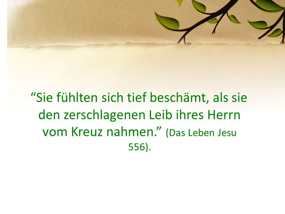 """""""Sie fühlten sich tief beschämt, als sie den zerschlagenen Leib ihres Herrn vom Kreuz nahmen."""" (Das Leben Jesu 556)."""