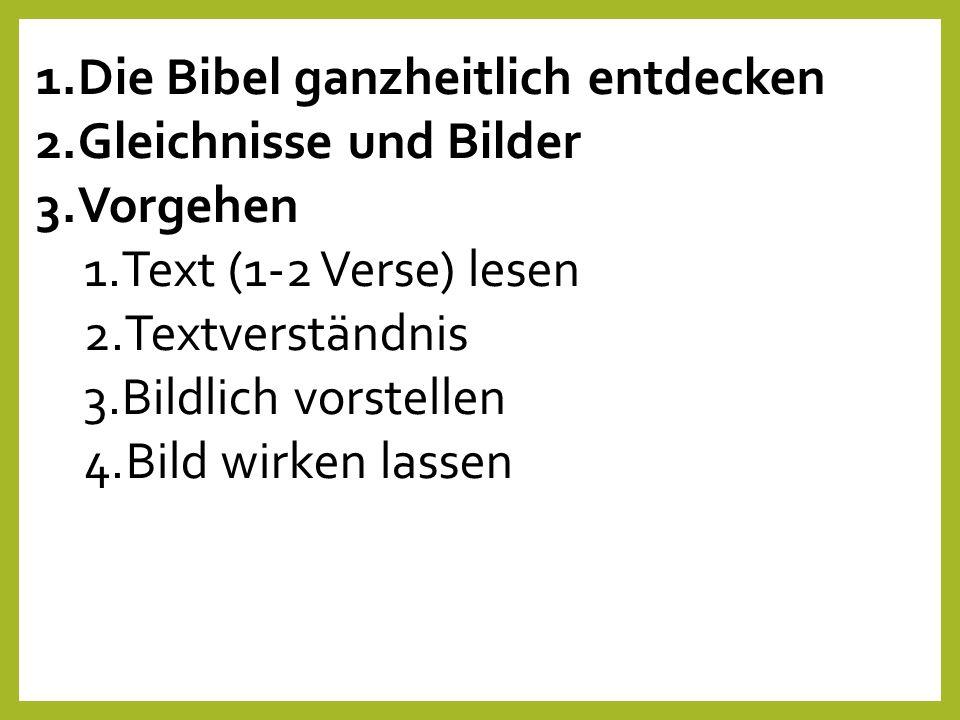 1.Die Bibel ganzheitlich entdecken 2.Gleichnisse und Bilder 3.Vorgehen 1.Text (1-2 Verse) lesen 2.Textverständnis 3.Bildlich vorstellen 4.Bild wirken lassen