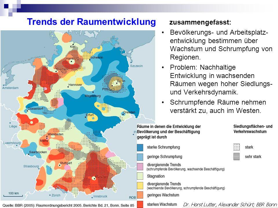 zusammengefasst: Bevölkerungs- und Arbeitsplatz- entwicklung bestimmen über Wachstum und Schrumpfung von Regionen.