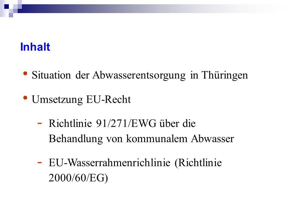 Inhalt Situation der Abwasserentsorgung in Thüringen Umsetzung EU-Recht - Richtlinie 91/271/EWG über die Behandlung von kommunalem Abwasser - EU-Wasserrahmenrichlinie (Richtlinie 2000/60/EG)