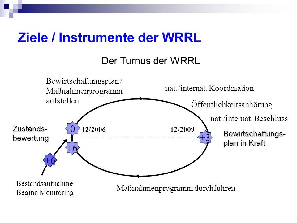 Ziele / Instrumente der WRRL Bestandsaufnahme Beginn Monitoring +6 Zustands- bewertung 0 Maßnahmenprogramm durchführen +6 Bewirtschaftungsplan / Maßnahmenprogramm aufstellen Öffentlichkeitsanhörung Bewirtschaftungs- plan in Kraft +3 nat./internat.
