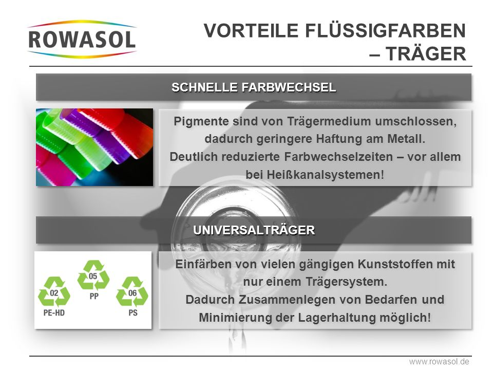 UNIVERSALTRÄGERUNIVERSALTRÄGER Einfärben von vielen gängigen Kunststoffen mit nur einem Trägersystem.