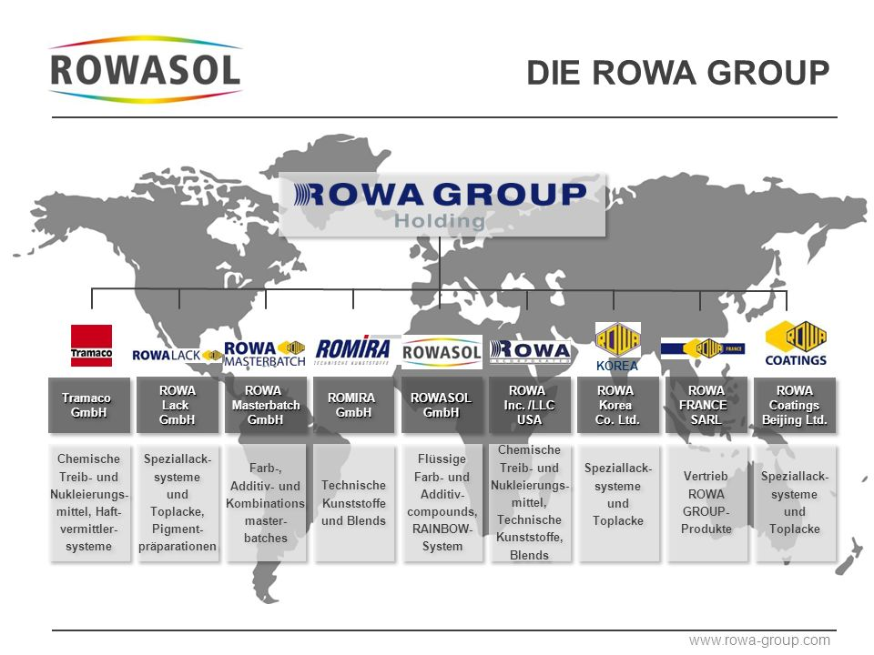 DIE ROWA GROUP ROWALackGmbHROWALackGmbHROWAMasterbatchGmbHROWAMasterbatchGmbHROMIRAGmbHROMIRAGmbHROWASOLGmbHROWASOLGmbHROWA Inc.