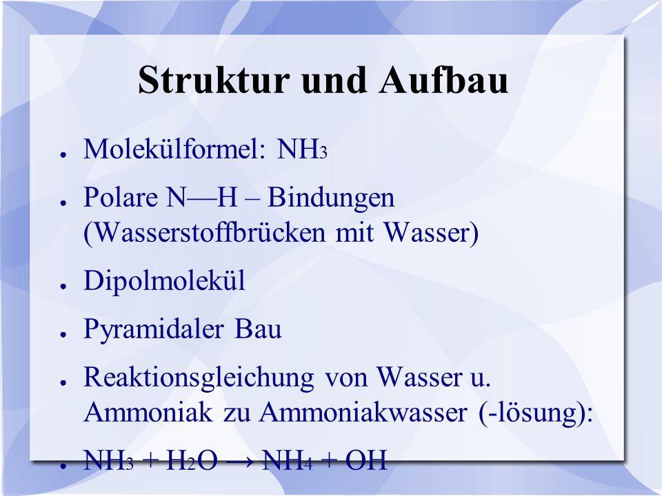 Struktur und Aufbau ● Molekülformel: NH 3 ● Polare N—H – Bindungen (Wasserstoffbrücken mit Wasser) ● Dipolmolekül ● Pyramidaler Bau ● Reaktionsgleichung von Wasser u.