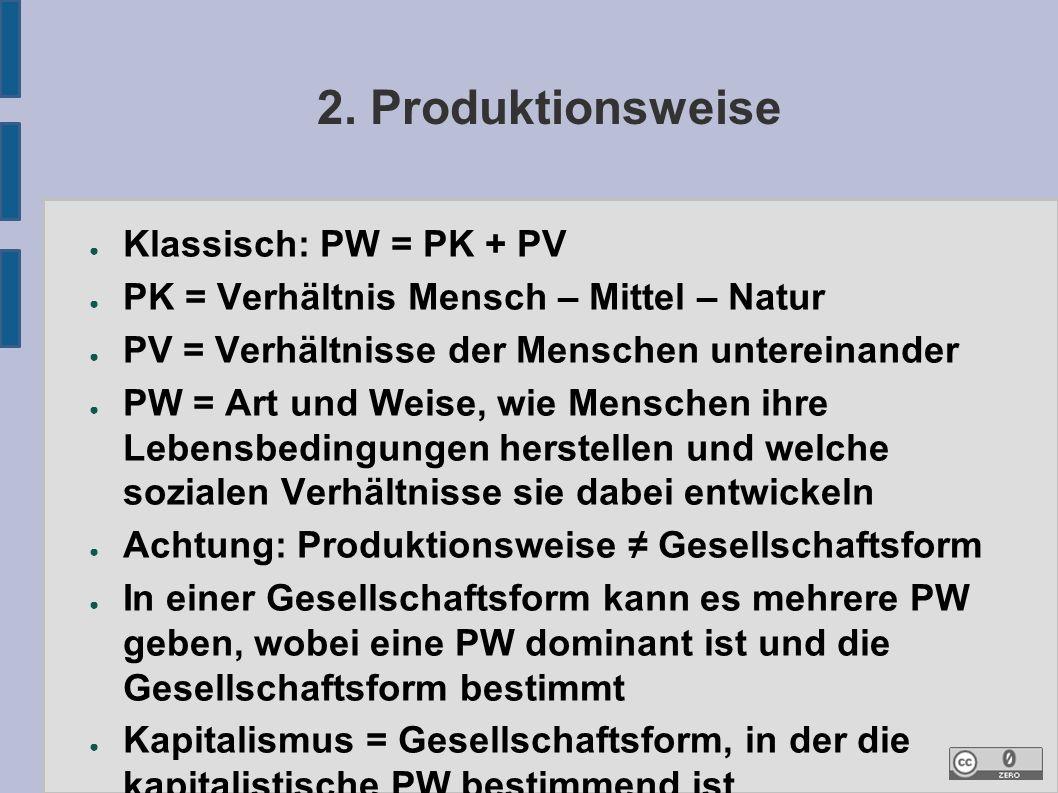 2. Produktionsweise ● Klassisch: PW = PK + PV ● PK = Verhältnis Mensch – Mittel – Natur ● PV = Verhältnisse der Menschen untereinander ● PW = Art und