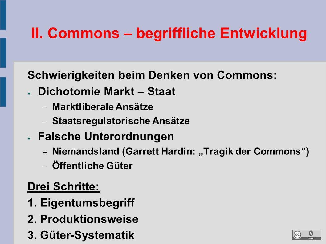 II. Commons – begriffliche Entwicklung Schwierigkeiten beim Denken von Commons: ● Dichotomie Markt – Staat – Marktliberale Ansätze – Staatsregulatoris