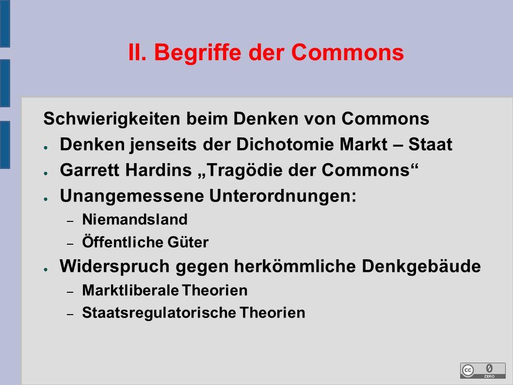 """II. Begriffe der Commons Schwierigkeiten beim Denken von Commons ● Denken jenseits der Dichotomie Markt – Staat ● Garrett Hardins """"Tragödie der Common"""