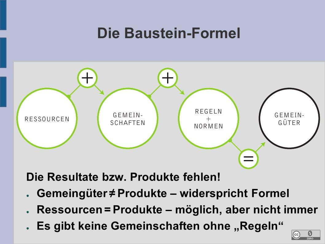 Die Baustein-Formel Die Resultate bzw. Produkte fehlen.
