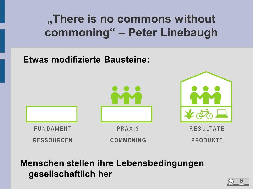 """""""There is no commons without commoning – Peter Linebaugh Etwas modifizierte Bausteine: Menschen stellen ihre Lebensbedingungen gesellschaftlich her"""