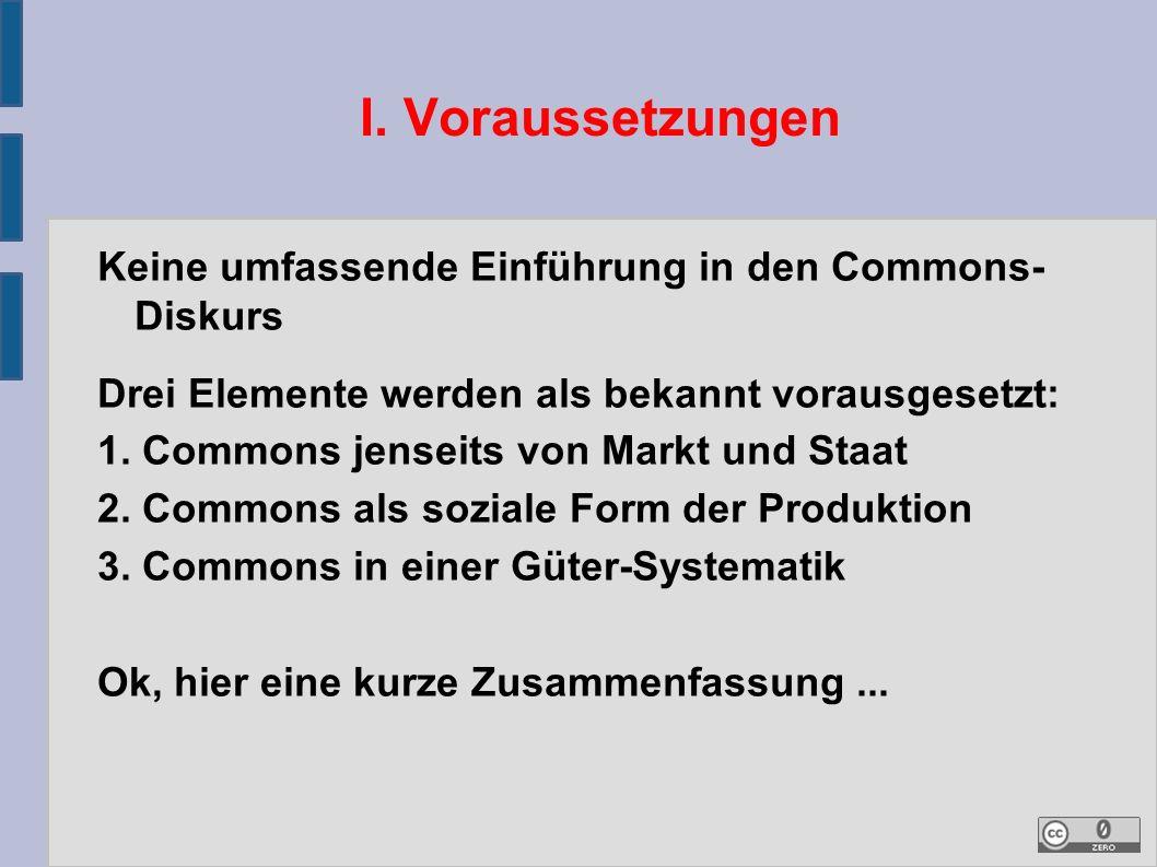 I. Voraussetzungen Keine umfassende Einführung in den Commons- Diskurs Drei Elemente werden als bekannt vorausgesetzt: 1. Commons jenseits von Markt u