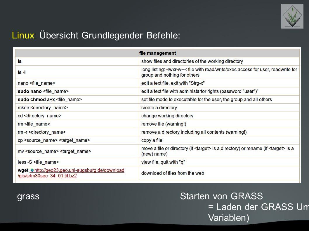 Linux: Übersicht Grundlegender Befehle: grassStarten von GRASS = Laden der GRASS Umgebung (Befehle und Variablen)