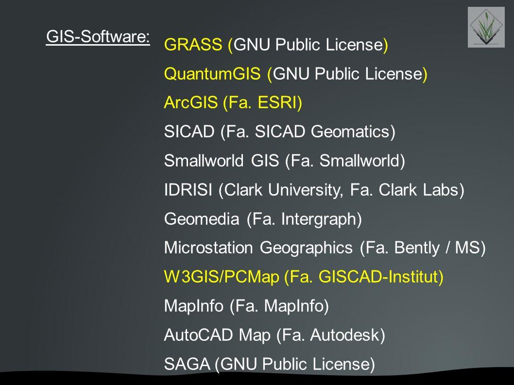 GRASS (GNU Public License) QuantumGIS (GNU Public License) ArcGIS (Fa. ESRI) SICAD (Fa. SICAD Geomatics) Smallworld GIS (Fa. Smallworld) IDRISI (Clark