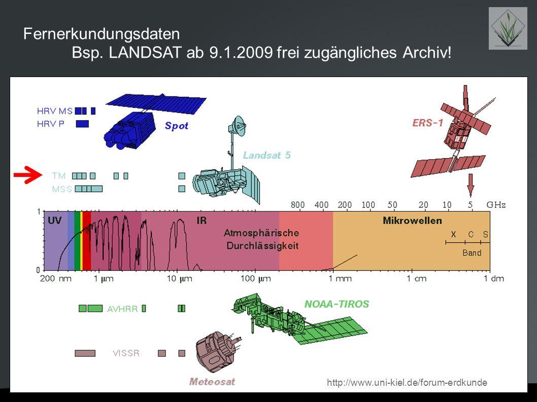 Fernerkundungsdaten Bsp. LANDSAT ab 9.1.2009 frei zugängliches Archiv! http://www.uni-kiel.de/forum-erdkunde