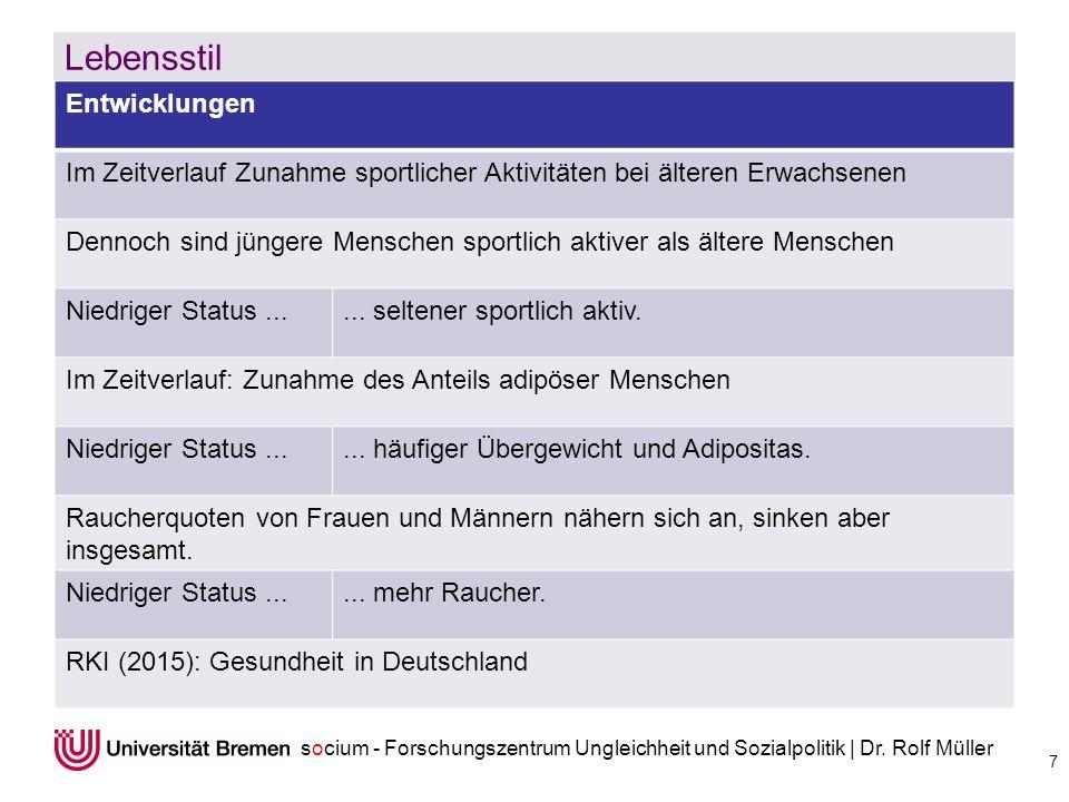 socium - Forschungszentrum Ungleichheit und Sozialpolitik | Dr. Rolf Müller Lebensstil 7 Entwicklungen Im Zeitverlauf Zunahme sportlicher Aktivitäten