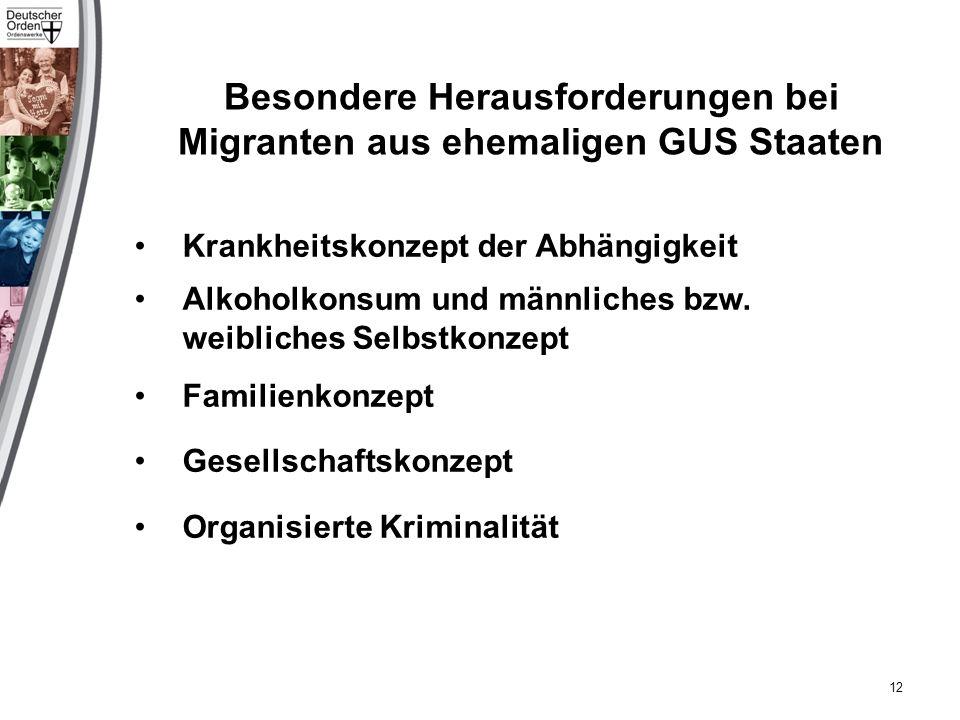 Besondere Herausforderungen bei Migranten aus ehemaligen GUS Staaten Krankheitskonzept der Abhängigkeit Alkoholkonsum und männliches bzw.