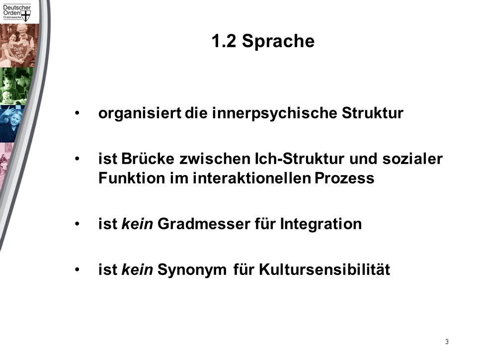 1.2 Sprache organisiert die innerpsychische Struktur ist Brücke zwischen Ich-Struktur und sozialer Funktion im interaktionellen Prozess ist kein Gradmesser für Integration ist kein Synonym für Kultursensibilität 3