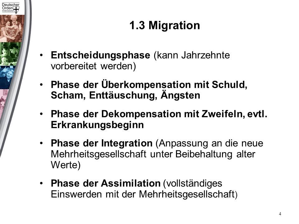 1.3 Migration Entscheidungsphase (kann Jahrzehnte vorbereitet werden) Phase der Überkompensation mit Schuld, Scham, Enttäuschung, Ängsten Phase der Dekompensation mit Zweifeln, evtl.
