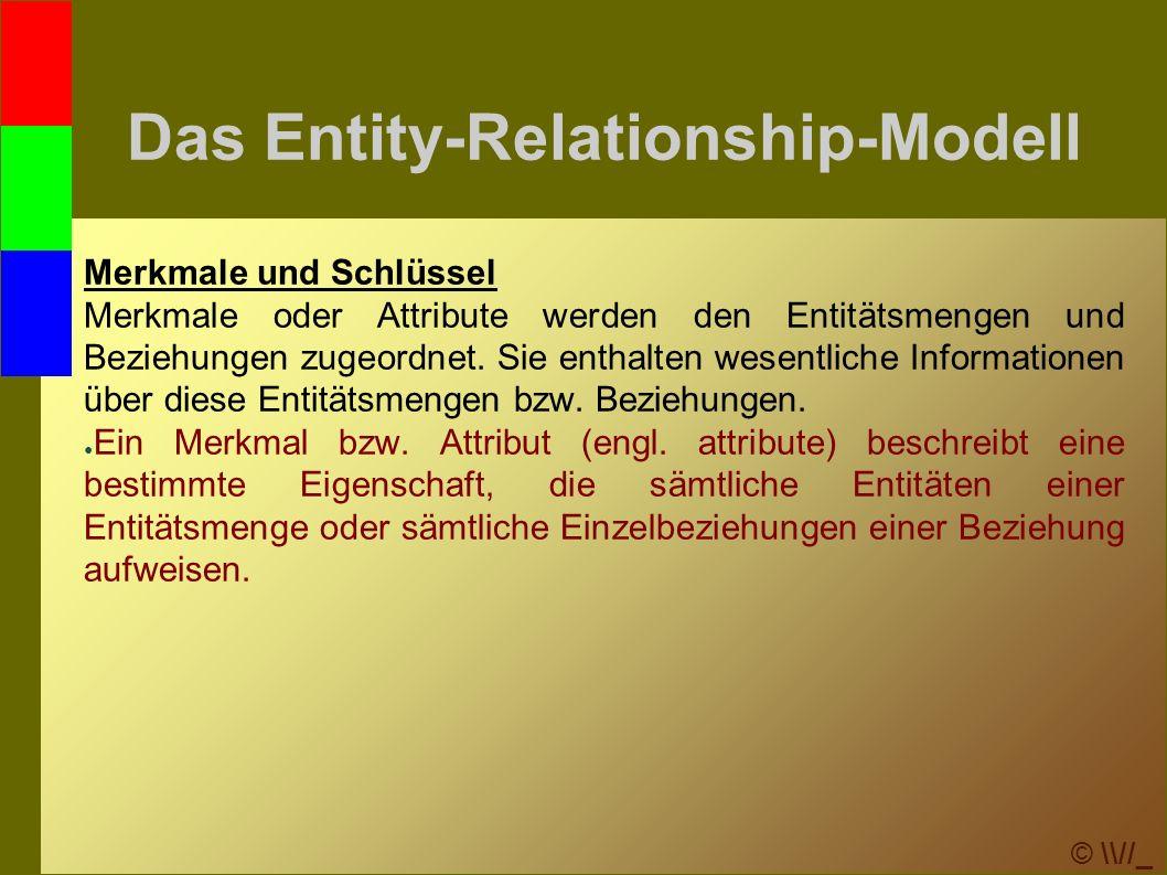 © \\//_ Das Entity-Relationship-Modell Merkmale und Schlüssel Merkmale oder Attribute werden den Entitätsmengen und Beziehungen zugeordnet.