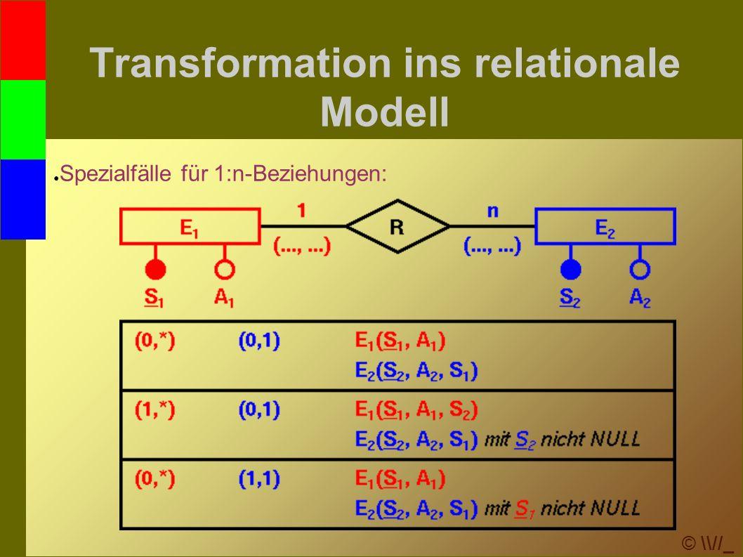 © \\//_ Transformation ins relationale Modell ● Spezialfälle für 1:n-Beziehungen: