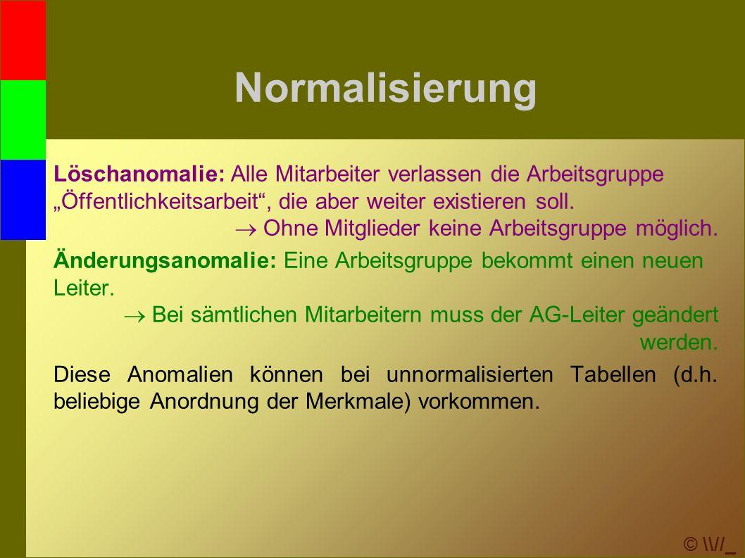 """© \\//_ Normalisierung Löschanomalie: Alle Mitarbeiter verlassen die Arbeitsgruppe """"Öffentlichkeitsarbeit , die aber weiter existieren soll."""