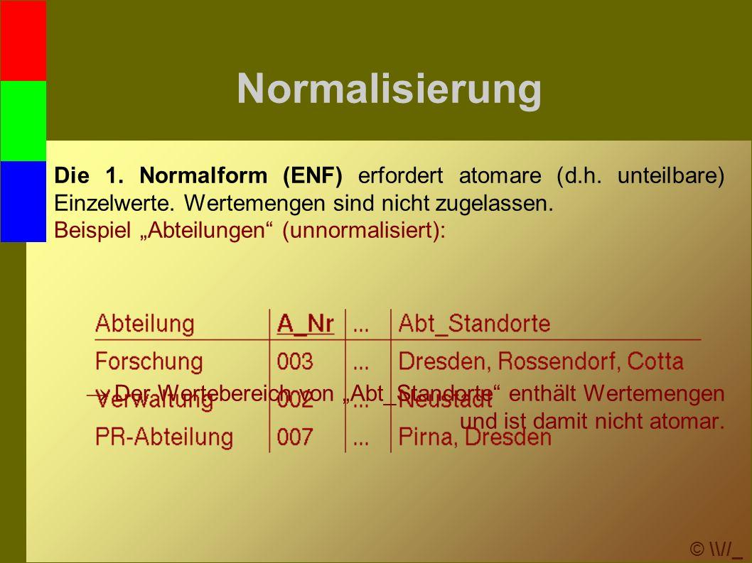 © \\//_ Normalisierung Die 1. Normalform (ENF) erfordert atomare (d.h.