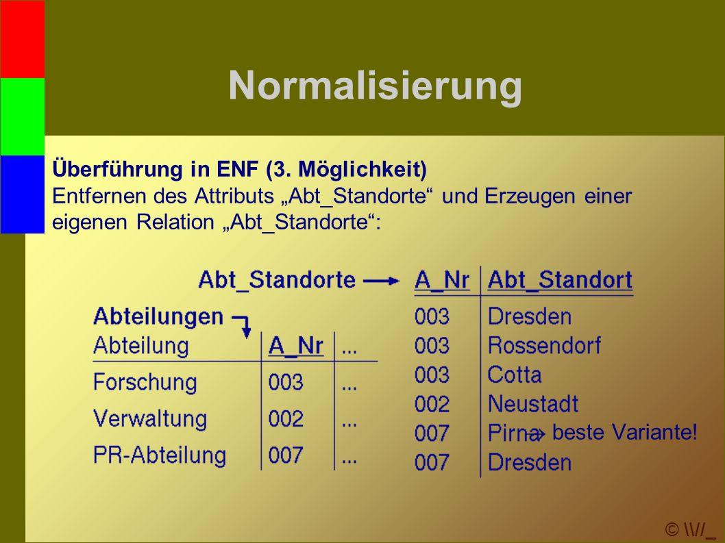 © \\//_ Normalisierung Überführung in ENF (3.