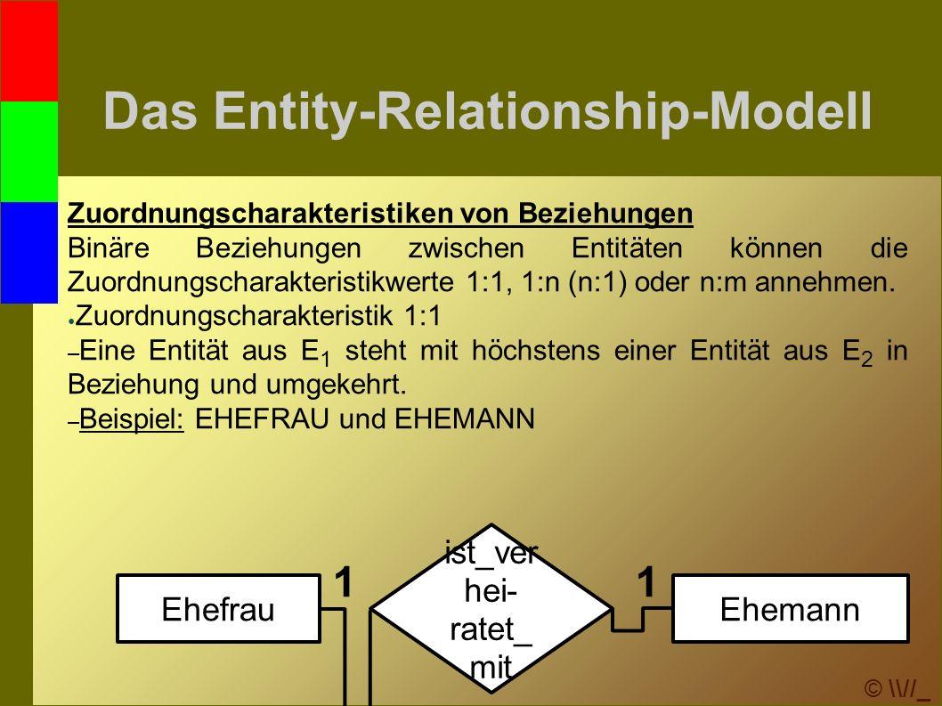 © \\//_ Das Entity-Relationship-Modell Zuordnungscharakteristiken von Beziehungen Binäre Beziehungen zwischen Entitäten können die Zuordnungscharakteristikwerte 1:1, 1:n (n:1) oder n:m annehmen.