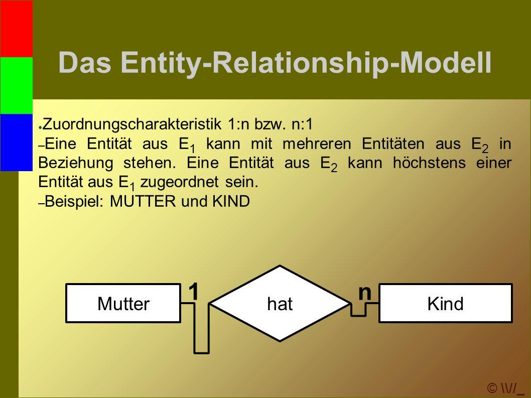 © \\//_ Transformation ins relationale Modell 3.Bei 1:1-Beziehungen wird ● eine neue Relation (Tabelle) gebildet, die die beteiligten Entitätsmengen enthält.