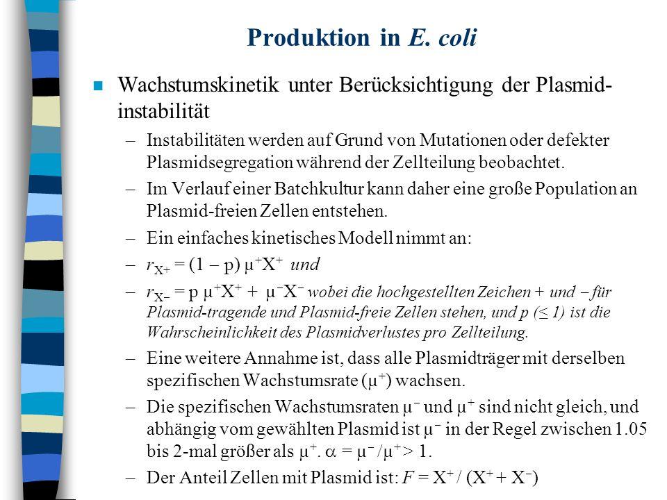 Produktion in E. coli n Wachstumskinetik unter Berücksichtigung der Plasmid- instabilität –Instabilitäten werden auf Grund von Mutationen oder defekte