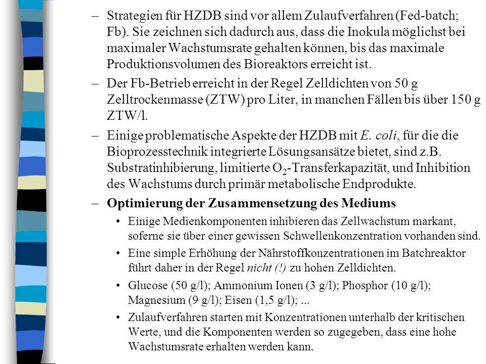 –Strategien für HZDB sind vor allem Zulaufverfahren (Fed-batch; Fb).
