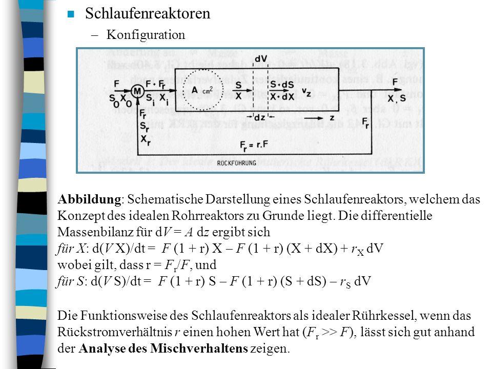 n Schlaufenreaktoren –Konfiguration Abbildung: Schematische Darstellung eines Schlaufenreaktors, welchem das Konzept des idealen Rohrreaktors zu Grunde liegt.